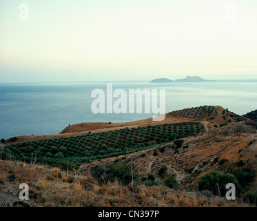 Islands of Paximadia seen from Crete, Greece - Stock Photo