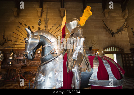England, Warwickshire, Warwick, Warwick Castle, Display of Knight and Horse Armour - Stock Photo