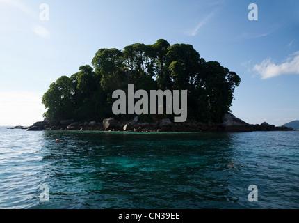 Small island in South China Sea near Tioman Island, Malaysia - Stock Photo