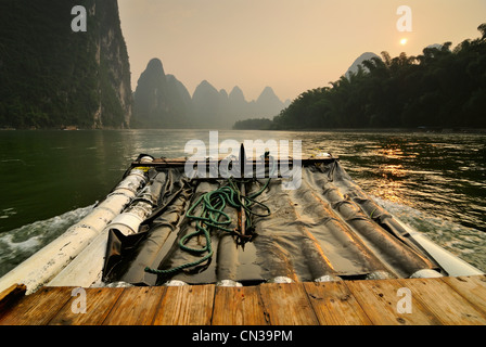 Bamboo boat on Li River, Guilin, China - Stock Photo
