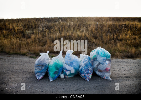 Recycling bags on a road - Stock Photo