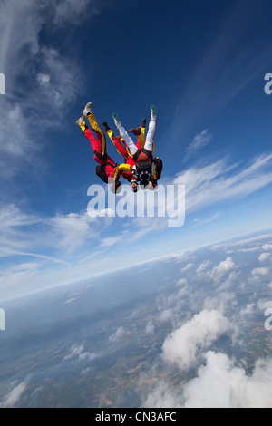 Freefly skydivers over Leutkirch, Germany - Stock Photo