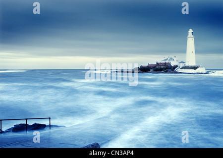 Lighthouse, St Marys Island, Whitley Bay, North Tyneside - Stock Photo