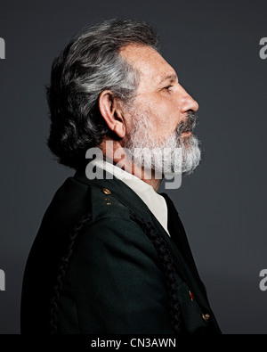 Profile of senior man wearing military uniform - Stock Photo