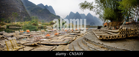 Wooden rafts in Yangshuo, China - Stock Photo