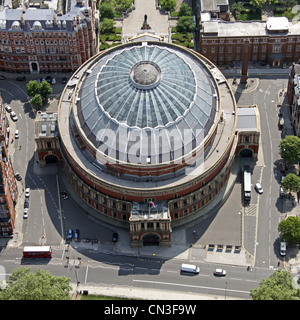 Aerial view of The Royal Albert Hall, Knightsbridge, London SW7 - Stock Photo