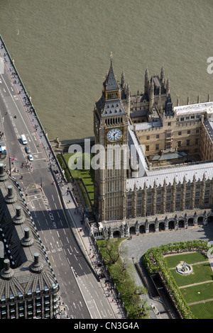 Aerial view of Big Ben at The Palace of Westminster, London SW1 - Stock Photo