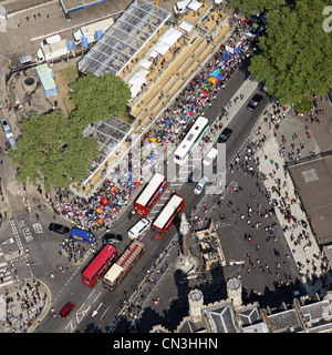 Aerial view of London buses and crowded street in London - Stock Photo