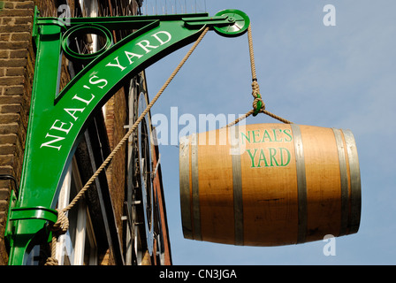 Hanging beer barrel outside Neal's Yard, Covent Garden, London, UK - Stock Photo