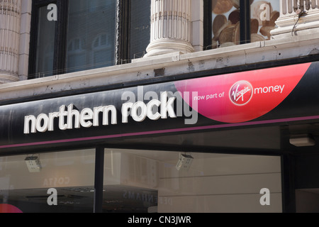 Northern Rock building society and Virgin Money bank branch sign. Yorkshire, England, UK, Britain. - Stock Photo