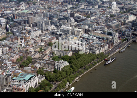 Aerial view of Inner Temple Gardens and Temple Place, London WC2 - Stock Photo