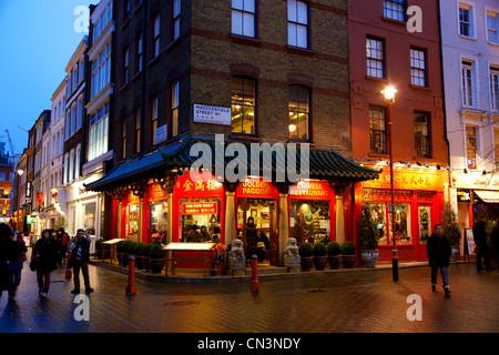 United Kingdom, London, Soho, Chinatown, floodlit facade of a Chinese restaurant - Stock Photo
