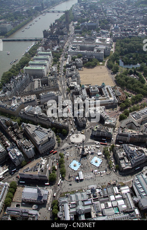 aerial view of Trafalgar Square looking south down Whitehall towards the Houses of Parliament - Stock Photo