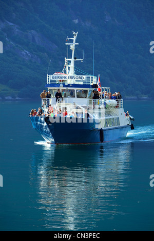 Norway, Sunnmore Region, More og Romsdal County, Geirangerfjord listed as World Heritage by UNESCO, touristic trip - Stock Photo