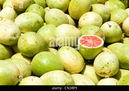 Myanmar (Burma), Shan state, Aungban, watermelons - Stock Photo