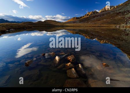 Italy, Piedmont, Mercantour Massif, Santa Anna Valley near the Colle della Lombarda (Col de la Lombarde), reflection - Stock Photo