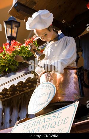 France, Haute Savoie, Yvoire, Leman Lake, labelled Les Plus Beaux Villages de France (the Most Beautiful Villages - Stock Photo