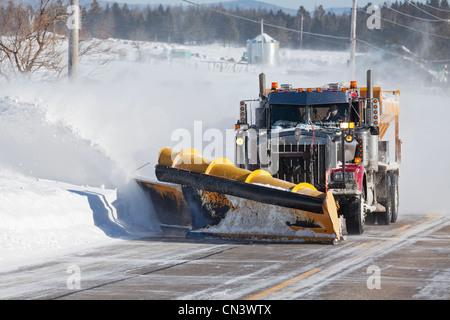 Canada, Quebec province, Charlevoix region, snow engine on a road - Stock Photo