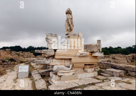 Cyrene. Libya. The prominent Naval Monument which stands opposite the Captiolium in the Agora was originally built - Stock Photo