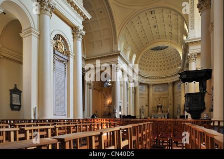Interior of the Church of Saint Jacques-sur-Coudenberg showing Corinthian columns, Brussels, Belgium - Stock Photo