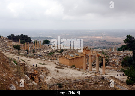 Cyrene. Libya. Overview of the Sanctuary of Apollo which is dominated by the Temple of Apollo. The sanctuary is - Stock Photo
