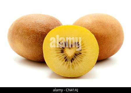Gold kiwifruit on a white background - Stock Photo