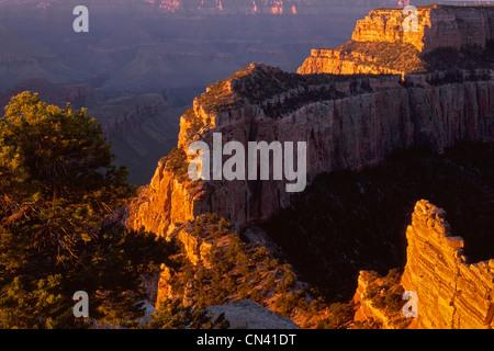 Sunrise light brightens Wotans Throne, from Cape Royal, North Rim, Grand Canyon National Park, Arizona, USA - Stock Photo