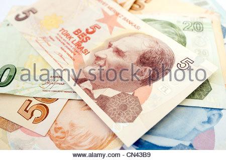 Turkish lira bank notes - Stock Photo