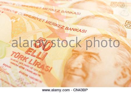 Turkish 50 lira bank notes - Stock Photo