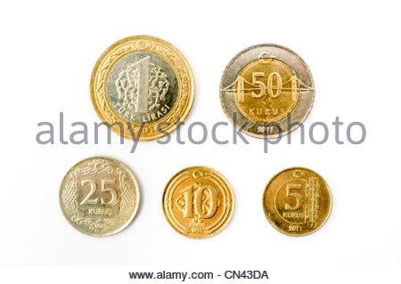 Turkish Coins, 1 lira, 50 kuruş, 25 kuruş, 10 kuruş, and 5 kuruş - Stock Photo