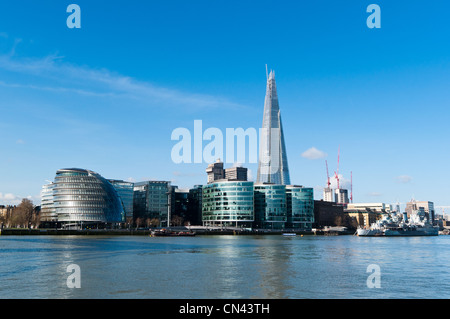 The Shard and City Hall amongst new buildings on the south bank of the river Thames. London. - Stock Photo