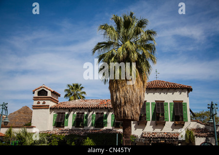 Detail of building in Spanish style architecture in Palm Springs, CA - Stock Photo