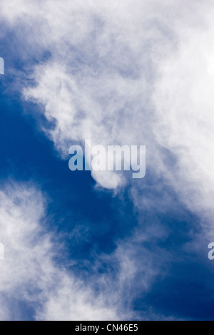 White cirrus clouds against a cobalt blue Colorado sky - Stock Photo