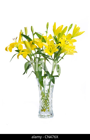 Yellow Lilies in crystal glass vase - Stock Photo