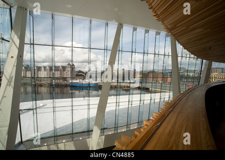 Norway, Oslo, the view on the city from inside the new Opera house by Snohetta architects - Stock Photo