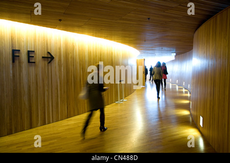 Norway, Oslo, room access in the wood structure situated in the hall of the new Opera house by Snohetta architects - Stock Photo