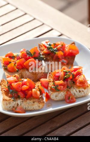Tomato Bruschetta - Stock Photo
