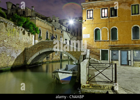 Italy, Veneto, Venice, listed as World Heritage by UNESCO, Cannaregio district at night - Stock Photo