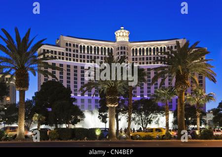 United Statess, Nevada, Las Vegas, Bellagion casino hotel on the Strip boulevard - Stock Photo