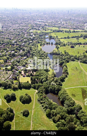 Aerial view of Highgate Ponds, near Parliament Hill, Millfield Lane, Hampstead Heath, London N6 - Stock Photo