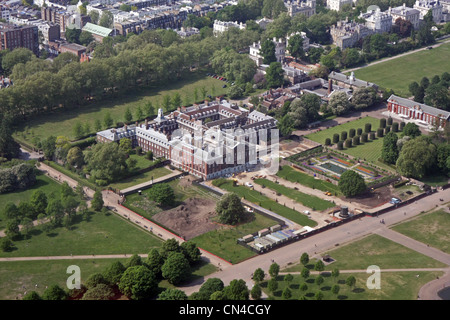 aerial view of Kensington Palace, The Broad Walk, at the western end of Hyde Park, London W8 - Stock Photo