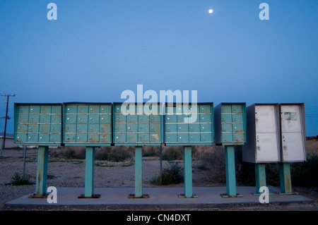 Row of mailboxes at night - Stock Photo