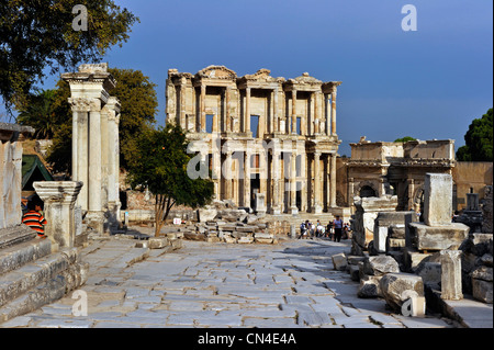 Turkey, Aegean Region, Ephesus ancient city, Celsus (Celsius) Library - Stock Photo