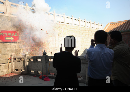 Firecrackers Exploding for a celebration. - Stock Photo