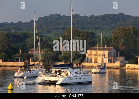 France, Var, iles d'Hyeres, Parc National de Port Cros (National Park of Port Cros), ile de Porquerolles, the port - Stock Photo