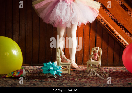 Low section of girl wearing tutu - Stock Photo