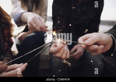Sparklers close up - Stock Photo
