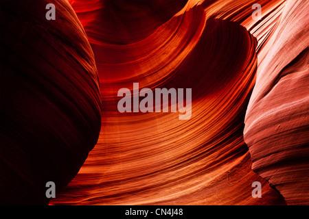 Lower Antelope Canyon, near Page, Arizona USA - Stock Photo