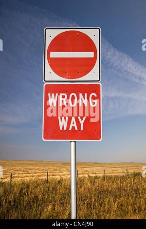 Wrong way sign - Stock Photo