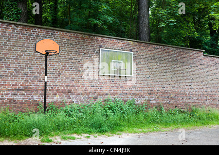 Basketball hoops on wall - Stock Photo